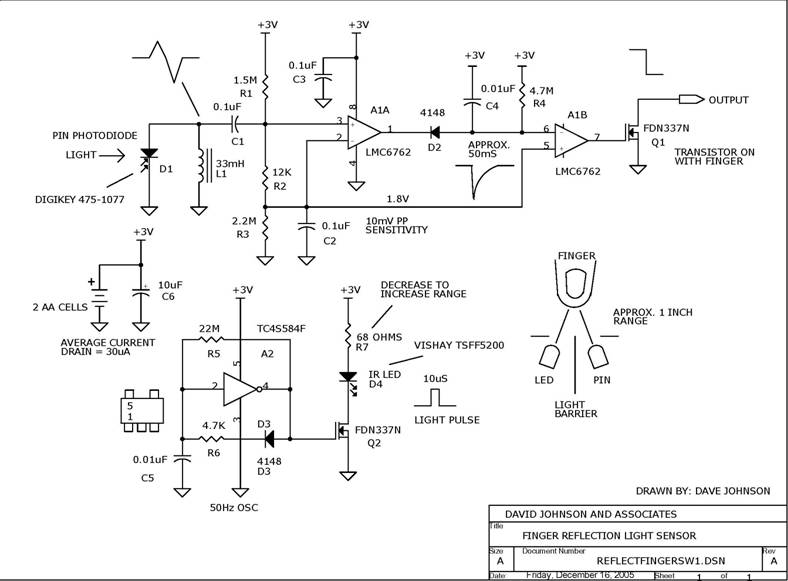 Circuit Finger Reflection Light Sensor Circuit designed by Dave Johnson, P.E. (June 30, 2006)
