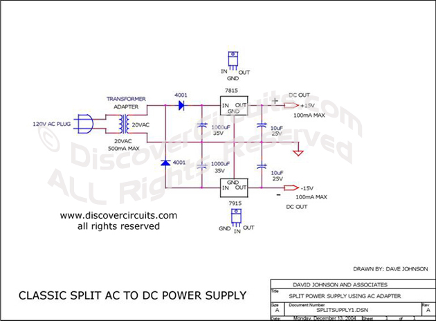 ac dc Power Supply Circuit Circuit Classic Split ac to dc