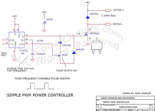 circuit 555 timer forms simple pwm motor controller circuit rh discovercircuits com Motor Speed Control Circuit Diagram Square D Motor Control Diagrams
