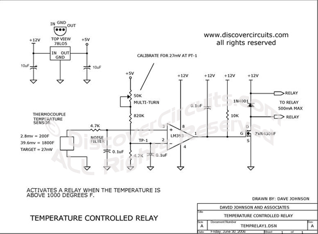 Circuit Thermocouple Temperature Activates Relay Circuits
