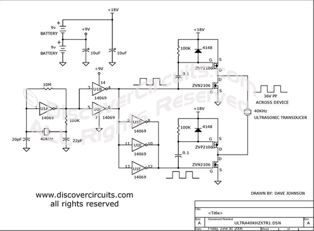 Hobby Circuit - Medium Power 40KHz Ultrasound Transducer Driver __