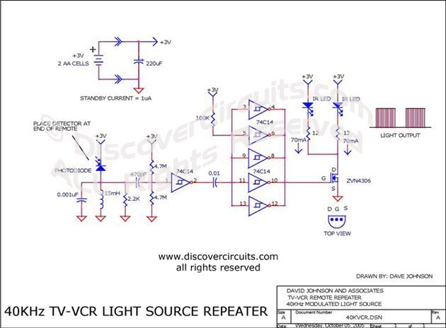 Circuit TV/VCR Infrared Remote Booster Circuit designed by David A. Johnson