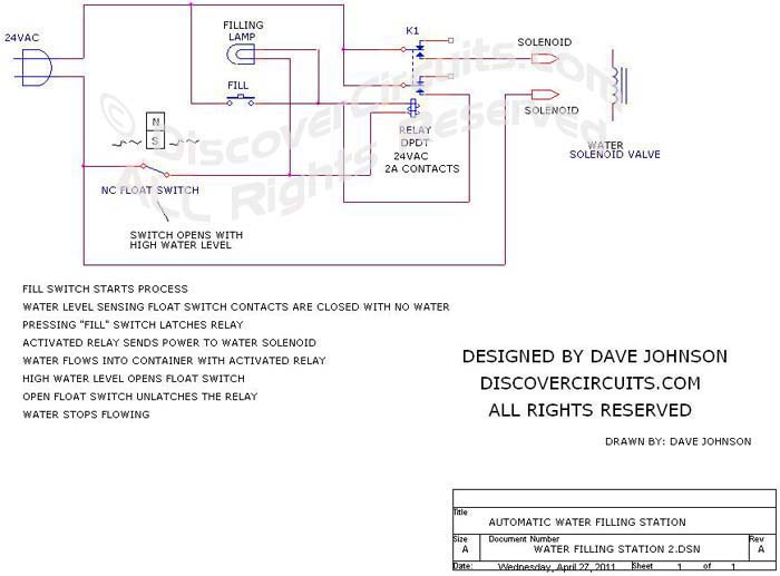 water filling station circuit designed by Dave Johnson