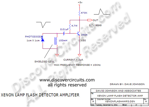 Circuit Xenon Lamp Flash Detector Amplifier designed by Dave Johnson, P.E.(Dec 14, 2004)