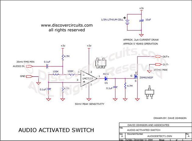 Circuit Audio Activated Switch Circuit designed by David Johnson, P.E. (June 30, 2006)