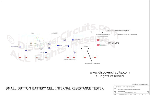 Circuit Small Button Battery Cell Internal Resistance Tester designed by David A. Johnson