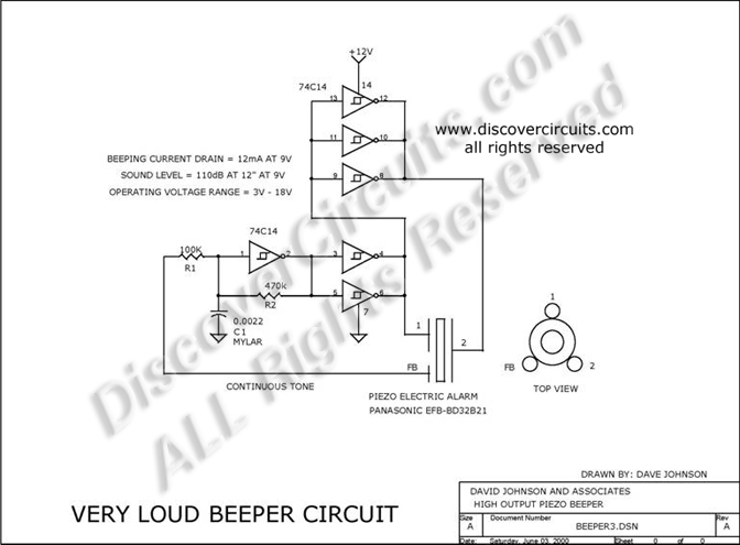 Admirable Circuit Very Loud Beeper Circuit Circuit Designed By David A Wiring Cloud Strefoxcilixyz