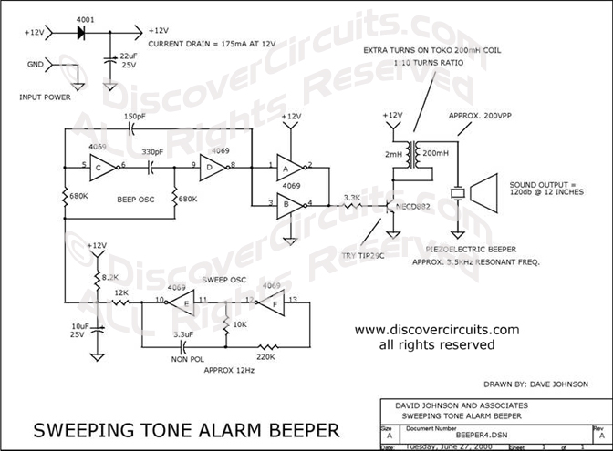Circuit Sweeping Tone Alarm Beeper designed by David A. Johnson, P.E. (June 27, 2000)