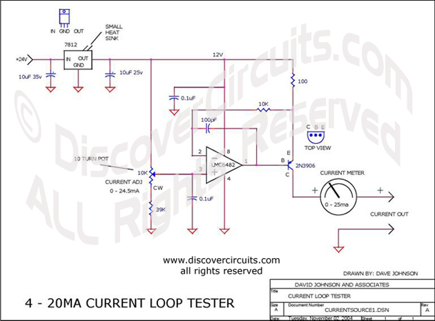 Circuit 420MA Current Loop Tester designed by Dave Johnson, P.E. (Nov 2, 2004)