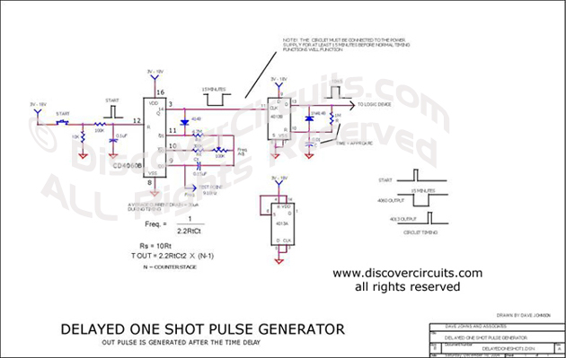 Circuit Delayed One Shot Pulse Generator designed by Dave Johnson, P.E.
