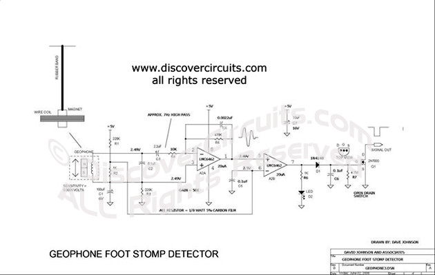 Circuit Geophone Foot Stomp Detector designed by Dave Johnson, P.E.
