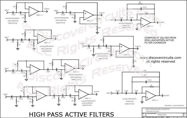 Circuit High Pass Active Filters designed by David A. Johnson, P.E. (Feb 11, 2002)