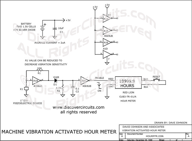 Circuit Machine Vibration Activated Hour Meter designed by Dave Johnson, P.E. (Dec 26, 1998)