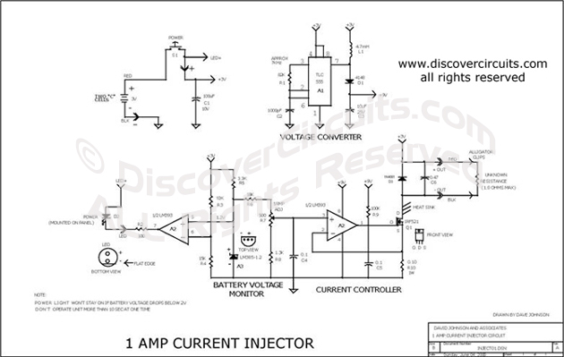 circuit  1 amp current injector   circuit designed by david a  johnson  p e