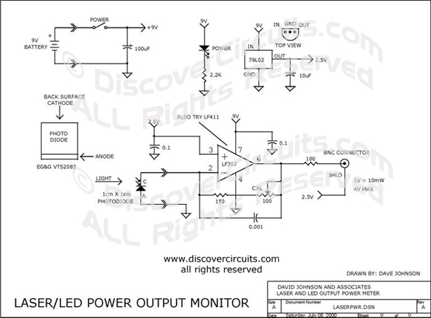 Circuit Laser / LED Power Output Monitor designed by David A. Johnson, P.E. (July 8, 2000)