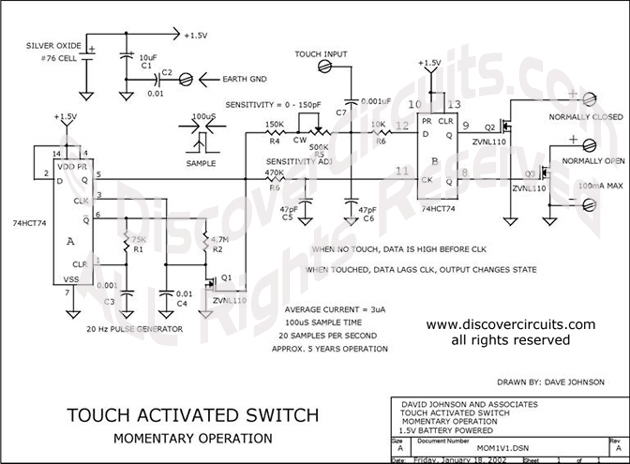 Circuit Touch Activated Switch designed by Dave Johnson, P.E. ( January 18, 2002)