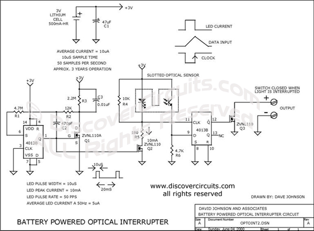 Circuit Battery Power Optical Interpreter designed by Dave Johnson, P.E. (June 4, 2000)