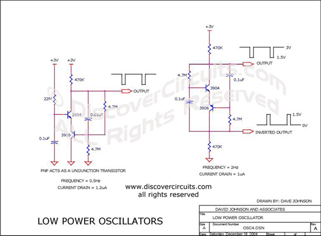 Circuit Low Power Oscillators designed by Dave Johnson, P.E. (Dec 18, 2004)
