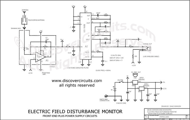 Circuit Electric Field Disturbance Monitor designed by David A. Johnson, P.E. (June 17, 2000)