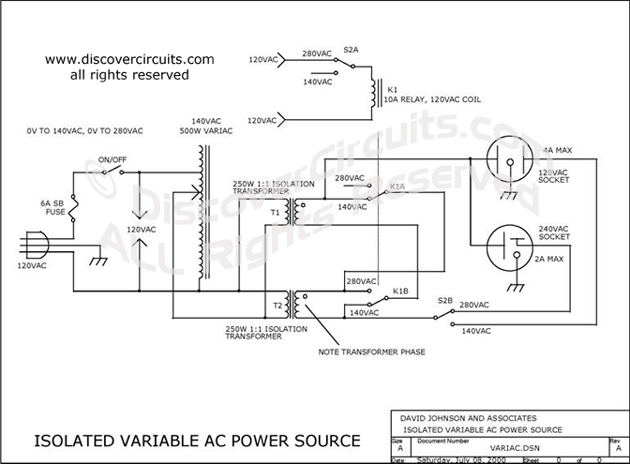 Circuit-VARIABLE ISOLATED AC VOLTAGE SPANS 0VAC TO 280VAC __ ... on