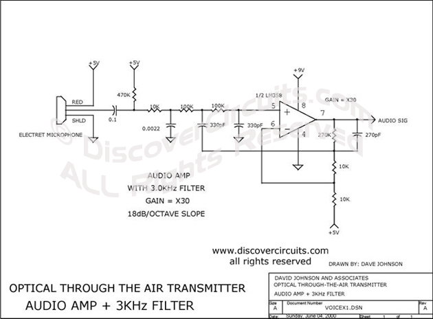 Circuit Optical through the Air Transmitter designed by Dave Johnson, P.E. (June 4, 2000)
