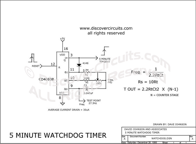 Circuit 5 Minute Watchdog Timer designed by Dave Johnson, P.E. (Dec 26, 1998)