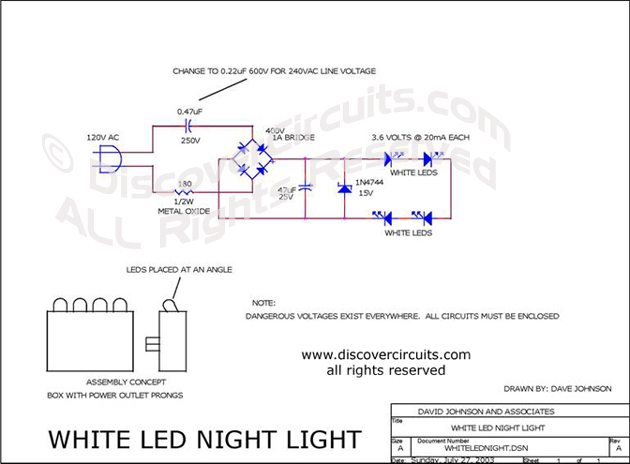 Circuit White LED Night Light designed by David A. Johnson, P.E.  (July 27, 2003)
