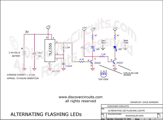Circuit: Wig/wag LED Flasher__ Circuit designed by David A. Johnson, P.E. | Wig Wag Flasher Wiring Diagram |  | Discover Circuits