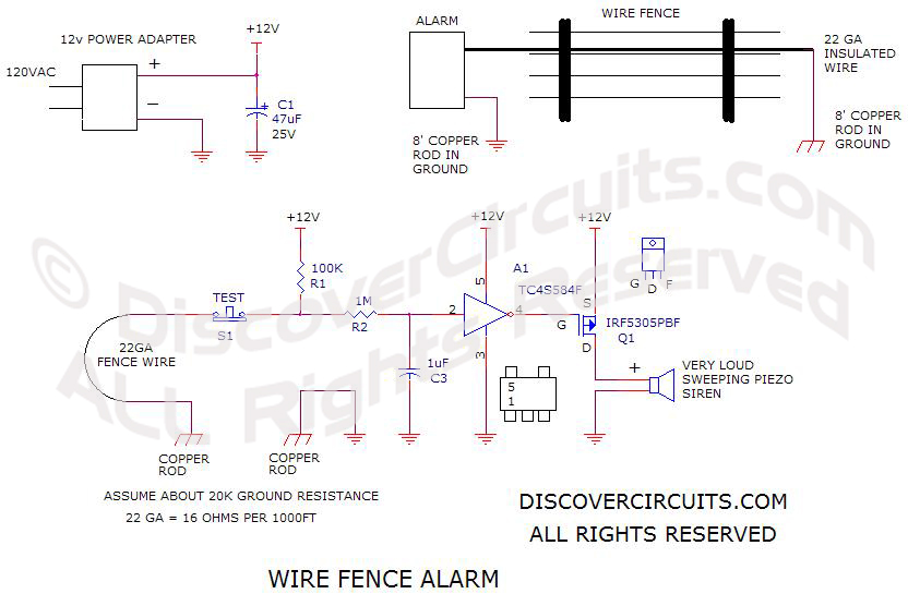 Wire Fence Alarm schematic