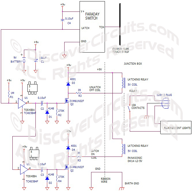 Hobby Circuit Touch Activated Battery Powered Latching Relay